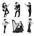Musicians black icons set vector image