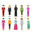 set of cute woman with traditional dress in flat vector image