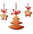 Christmas honey-cakes on the white vector image
