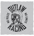 outlaw racing poster vector image