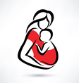 mother holding baby in the sling symbol vector image