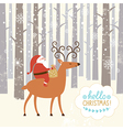 Santa goes on deer vector image