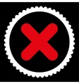 Cancel flat red and white colors round stamp icon vector image