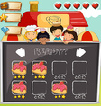 Game template with children and cake vector image vector image