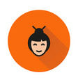 asian woman portrait icon on round background vector image