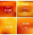 autumn typography elements on orange blurred vector image