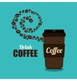 coffee cup brown and beans graphic vector image