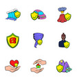 Injury icons set cartoon style vector image