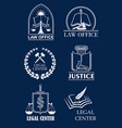 law firm lawyer office legal center symbol set vector image