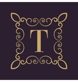 Monogram letter T Calligraphic ornament Gold vector image