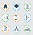set of 9 human resources icons includes vector image