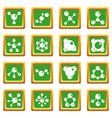 molecule icons set green vector image