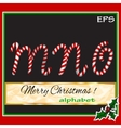 ABCDEF christmas sugar-candy font on a background vector image