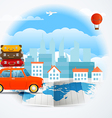 World map with the car infographic elements Summer vector image