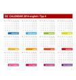 Calendar 2014 English Type 4 vector image