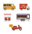 set of street food transport vector image