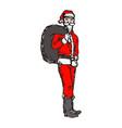slim santa claus with big bag on his back vector image