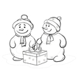 snowmens with gift box contours vector image