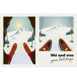 Vintage poster of two pictures Skier vector image