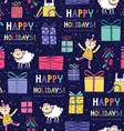 Happy holidays fun seamless pattern vector image vector image