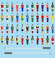 Soccer Club Team Players Big Set vector image