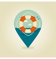 Lifebuoy pin map icon Summer Beach Sea vector image
