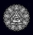 all seeing eye in ornate round mandala pattern vector image