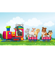 Animals and train vector image