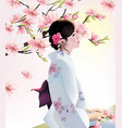 japanese girl on cherry blossom background vector image