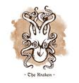 kraken legendary sea monster giant octopus vector image