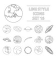 planets set icons in outline style big collection vector image