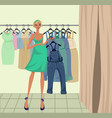 pregnant girl trying on clothes vector image
