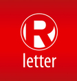 Round logo letter R on a red background vector image