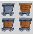 wooden mine cart set vector image