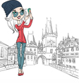 Hipster girl makes selfie in Prague vector image