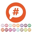 The hashtag icon Social network and web vector image