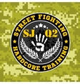 Street fighting emblem with military elements on vector image