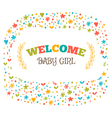 Baby girl shower card Welcome baby girl Baby girl vector image