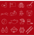 China theme red and white outline icons set eps10 vector image