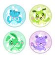 cute cartoon bathing animals vector image