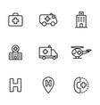 hospital icons set on white background vector image