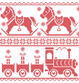Scandinavian seamless nordic pattern with horse vector image