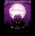 purple halloween haunted house background vector image