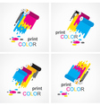 cmyk print colored roll element set vector image