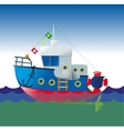 cartoon boat vector image vector image