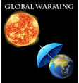 Global warming theme with earth and umbrella vector image