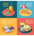 Travel Vintage 4 Isometric Icons Square vector image
