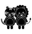 cute animals lion and tiger babies vector image