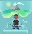 Dealing with stress young black character vector image