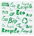 doodle ecology icons vector image